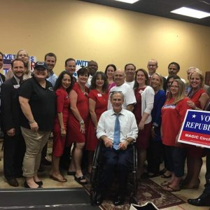 Judicial Candidates in a Rally with Gov Abbott and Magic Circle RW