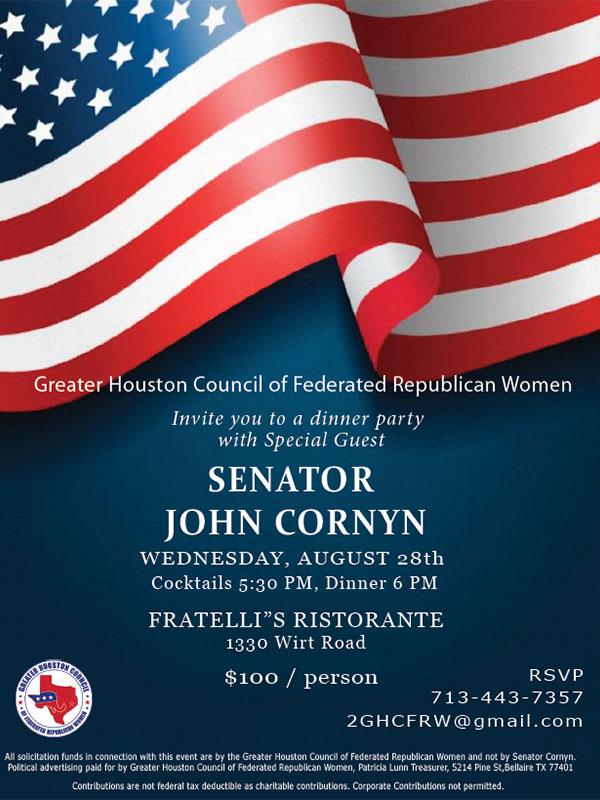 GHCFRW Senator John Cornyn Dinner