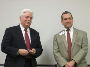 Stan Stanart, Harris County Clerk and Paul Simpson, Harris County Chair speaking to Greater Houston Council Meeting